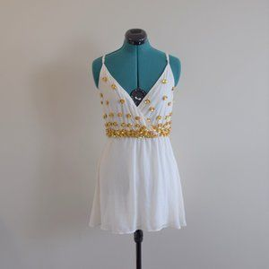 Vintage Gold Beaded Embellished Ombre Dress